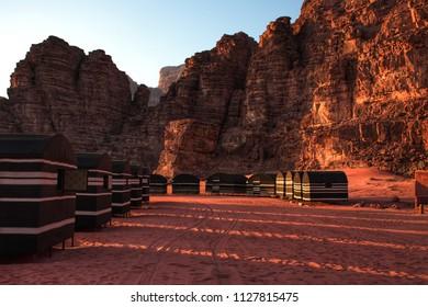 Traditional desert camp at sunset in Wadi Rum Jordan