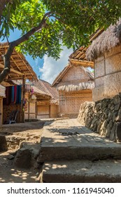 The traditional design of the exterior of SASAK houses in Lombok Island, Indonesia; the frame and roof are made of wood, bamboo and straw leaves of coconut trees. Floor made of buffalo dung
