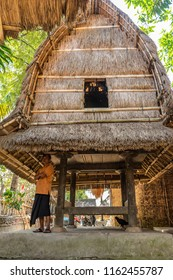 The traditional design of the exterior of SASAK houses in SADE village: Lombok, Indonesia - August 2017