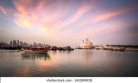 Traditional dhow moored near Museum of Islamic Art, Doha, Qatar