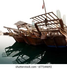 Traditional dhows in the Fishing harbor of Manama, Bahrain