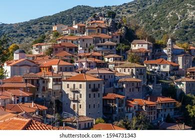 Traditional Dimitsana village in Arcadia region of Peloponnese, Greece