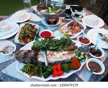 Traditional dinner cuisine food set  thai style on table at restaurant in countryside at Uthai Thani, Thailand