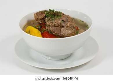 Traditional dish goulash - stewed meat and vegetables