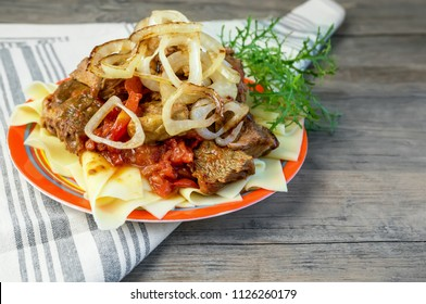 Traditional dish of Turkic people in Central Asia Beshbarmak