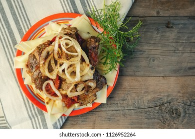 Traditional dish of Turkic people in Central Asia Beshbarmak. Copy spase