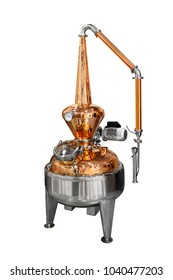 Traditional distiller tank made from copper production of alcohol, cognac, whiskey. Copper modern distiller for alcohol production isolated on a white background. Ancient traditional food technologies
