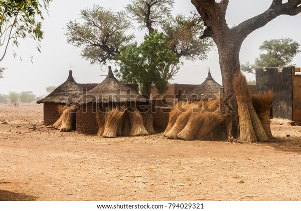 Traditional domestic huts in a african mosi village of Burkina Faso with some bundles of straw against their circular walls.