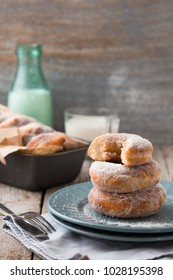 Traditional donut home on wooden table