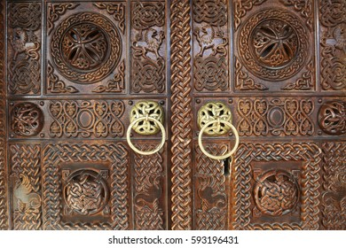 Traditional door in Monastery of Saint Jovan Bigorski at Mavrovo National Park, Macedonia. Monastery was built in 1020 and the monastery church is dedicated to St. John the Baptist.
