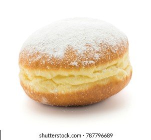Traditional doughnut (Sufganiyah) isolated on white background one fresh baked with powered sugar and without hole