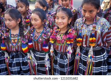 Traditional dress Children in the old town of Chichicastenango in Guatemala in central America.       Guatemala , Chichicastenango, September, 2014