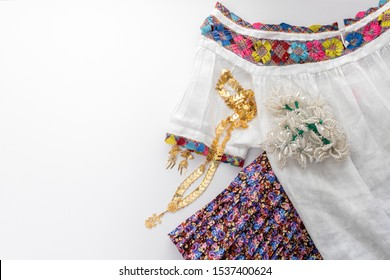 Traditional dress of the peasant woman of Panama handmade, with her gold jewelry