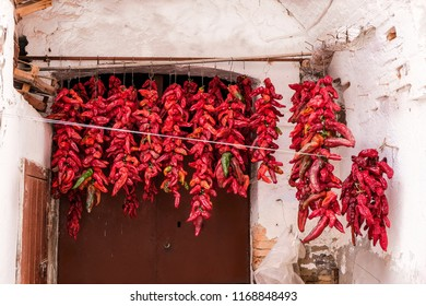 Traditional dried peppers in Basilicata, Italy.