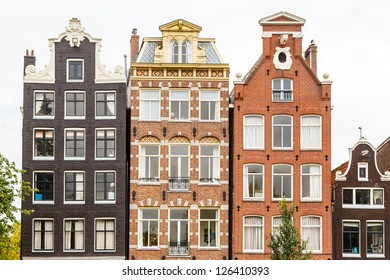 Traditional dutch buildings in Amsterdam