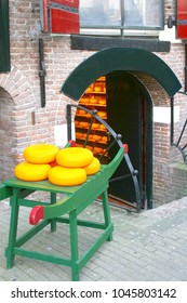 Traditional Dutch cheese shop exterior and interior, Holland