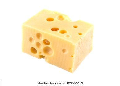 traditional Dutch cheese, shot on white background