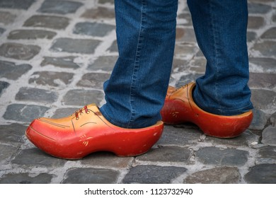 Traditional Dutch clogs being worn at Gouda, Netherlands