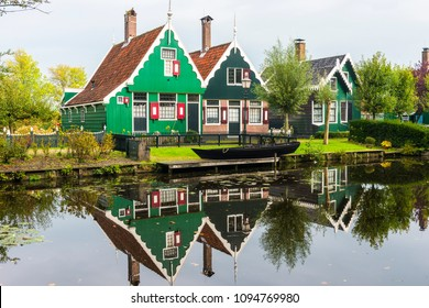 Traditional Dutch house in Zaanse Schans. The Zaanse Schans is a typically Dutch small village in Amsterdam, Netherlands.