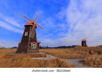 Traditional Dutch old wooden windmill in Zaanse Schans - museum village in Zaandam. The Netherlands in Korea.