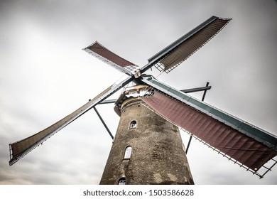 Traditional Dutch Windmill at Kinderdijk