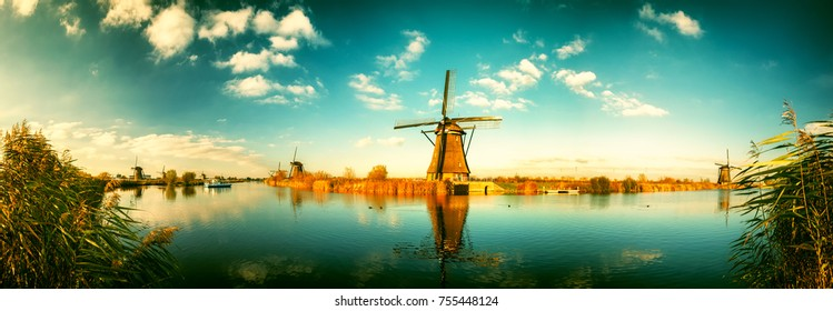 Traditional dutch windmills at sunny day , Netherlands. Nature background