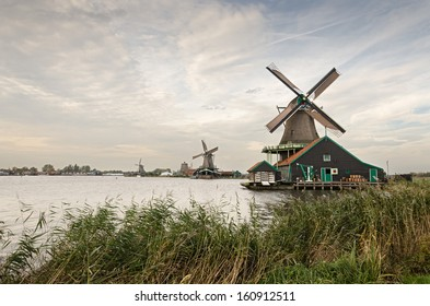 Traditional Dutch windmills at Zaanse Schans. Vintage look