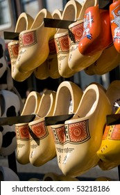 Traditional Dutch Wooden clogs, for sale as tourist souvenirs at a market in Amsterdam.