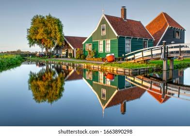 Traditional dutch wooden house in Zaanse Schans village