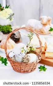 Traditional Easter basket with eggs.