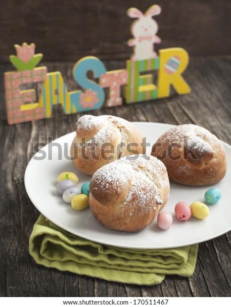 Traditional Easter bird bun