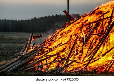 Traditional Easter Bonfire burning in Ostrobothnia, Finland. Similar tradition is followed during the midsummer night elsewhere in Finland.