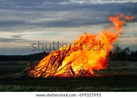 Easter Sunday Horizon Is Burning >> Traditional Easter Bonfire Burning Ostrobothnia Finland Stock Photo