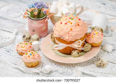 Traditional Easter cake and cupcakes