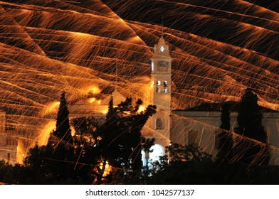 traditional easter rocketwar in Vrondados Chios/Greece