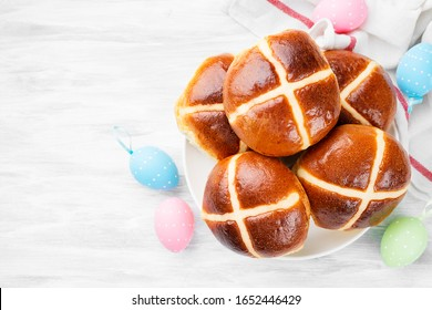 Traditional Easter treats cross buns with raisins.