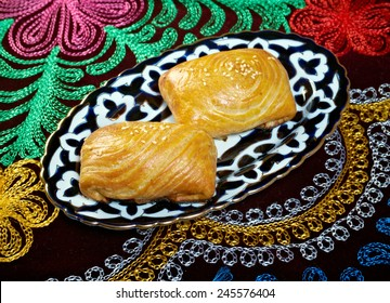 traditional eastern food samsa - Uzbek cuisine