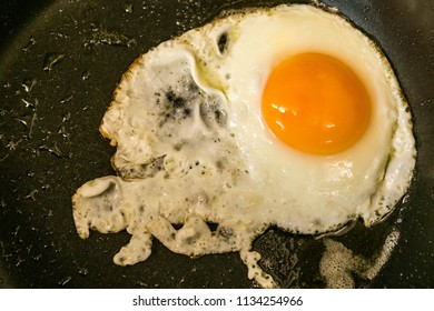 Traditional easy breakfast meal fried eggs served on a frying pan