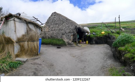 Traditional ecuatorian highland farm with wooden houses on the road nr 30 from Latacunga to quilotoa.