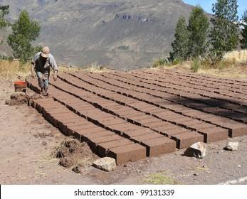 Traditional elaboration of sun-dried mud/adobe bricks in Peru.