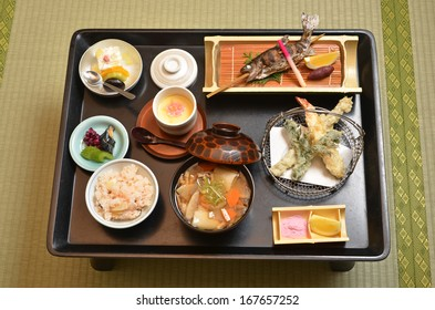 Traditional elegant Japanese kaiseki meal