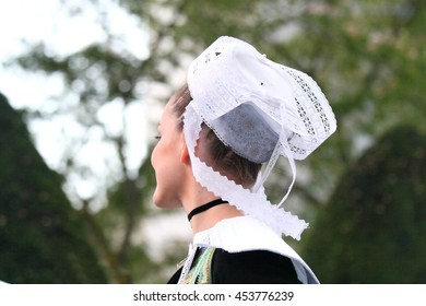 Traditional embroidered breton lace hat