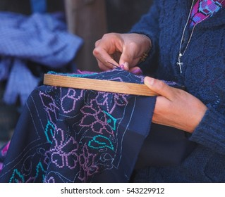 Traditional embroidery being undertaken in one of the Indigenous communities around San Cristobal de la Casas.  Most of these people have Mayan heritage