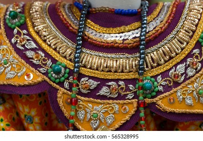 Traditional embroidery Thai puppet costume decorated with details.