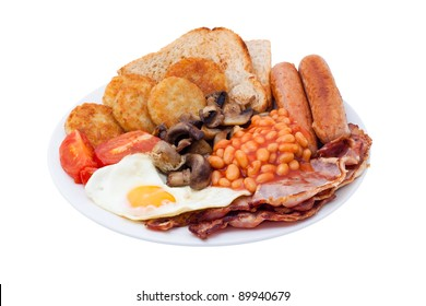 Traditional English Breakfast. Image is isolated on white background.