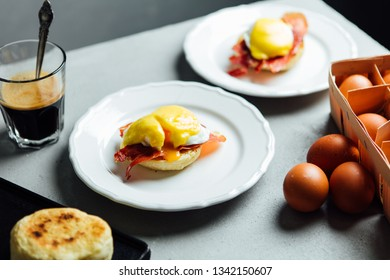 Traditional english breakfast served for two shot on grey background