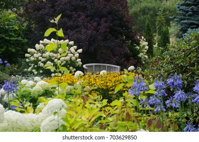 Traditional English Garden With Seat In Background