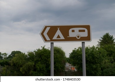 Traditional English street sign, camping street sign