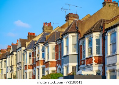 Traditional English terraced houses around West Hampstead in London