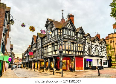 Traditional English Tudor architecture houses in Chester, England
